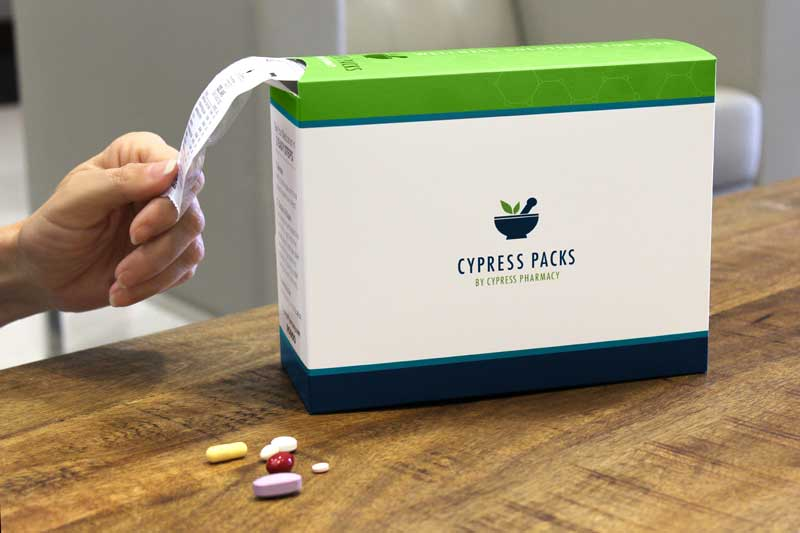 Person pulling individually packaged pills out of a Cypress Packs box